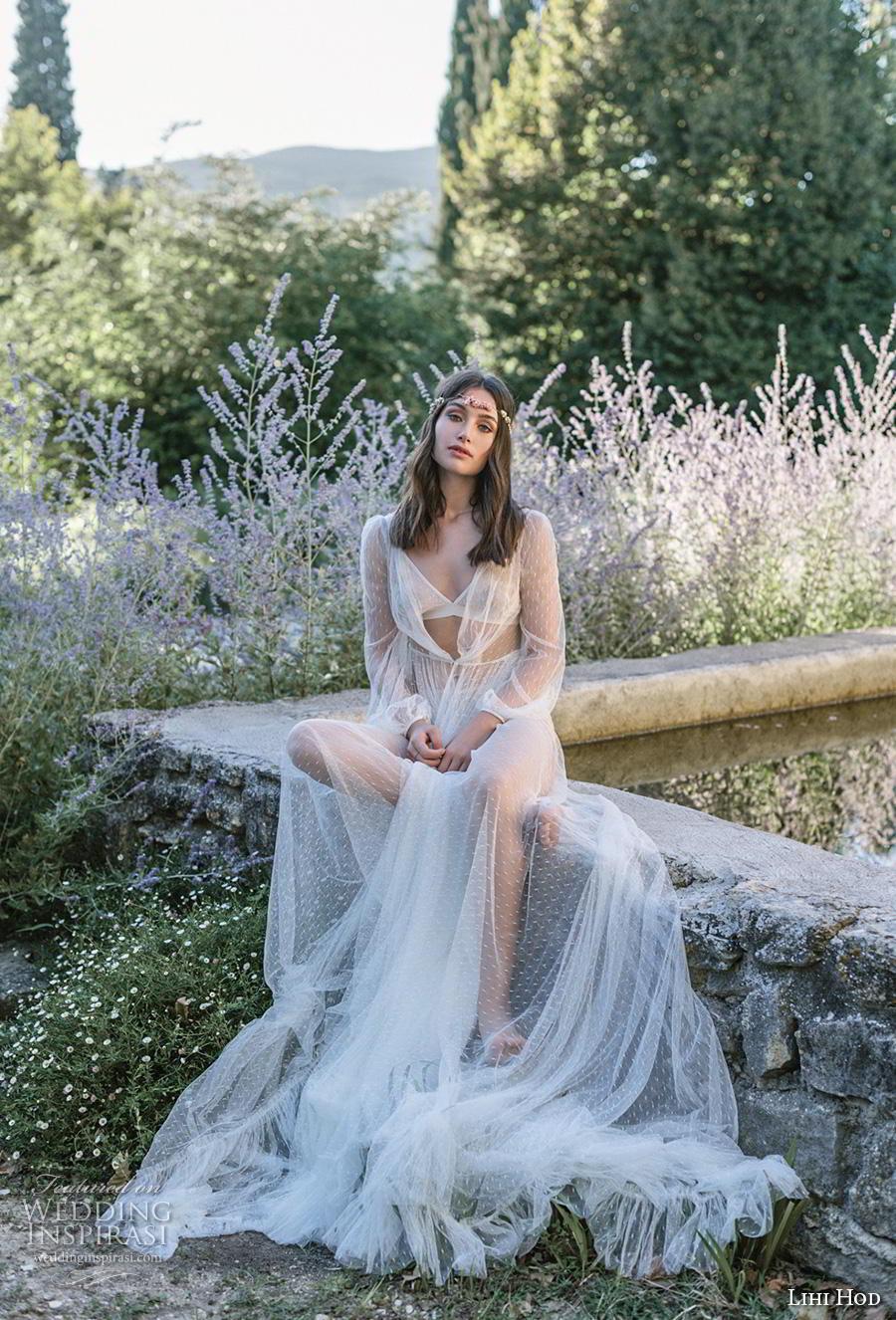 lihi hod 2019 bridal long bishop sleeves sweetheart neckline simple minimalist ribbon waist romantic a  line wedding dress pockets royal train (7) av