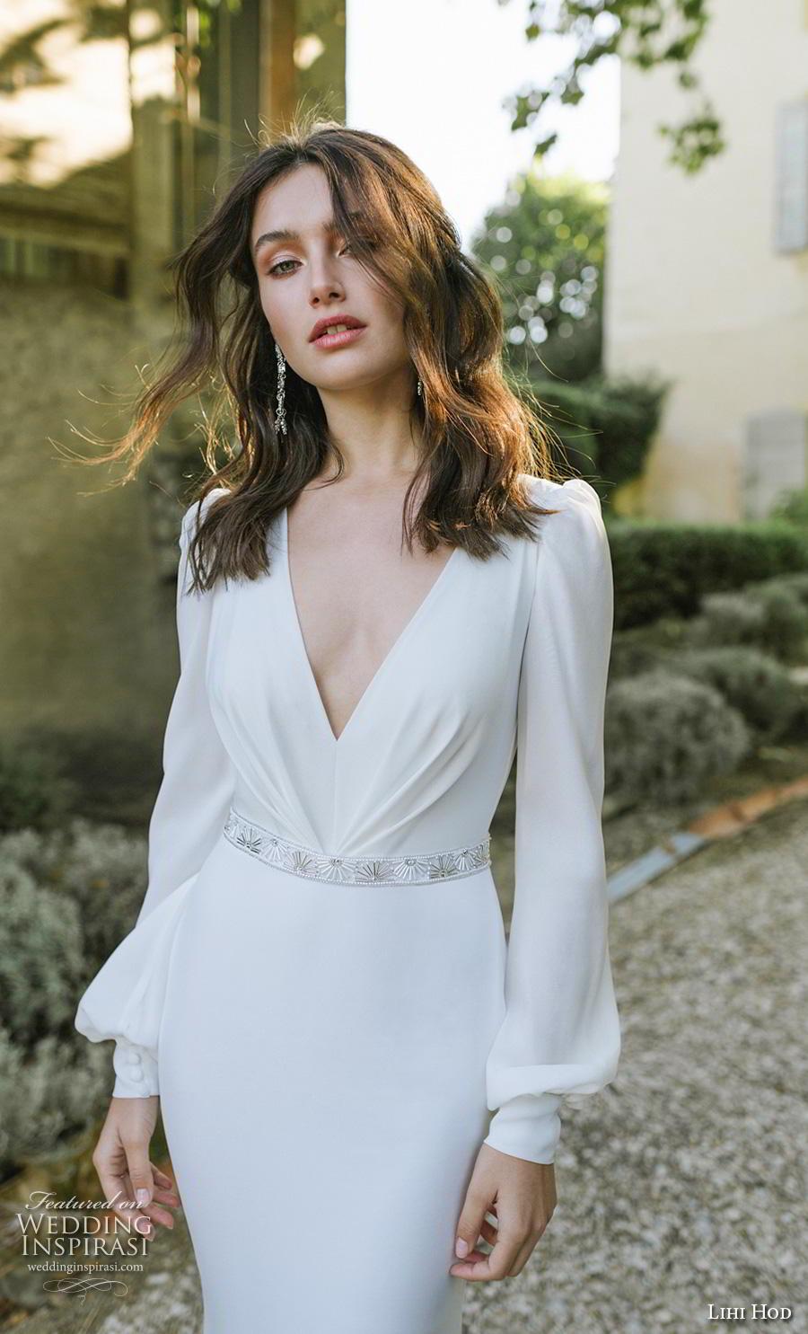 lihi hod 2019 bridal long bishop sleeves v neck simple minimalist elegant sheath fit and flare wedding dress (12) mv zv