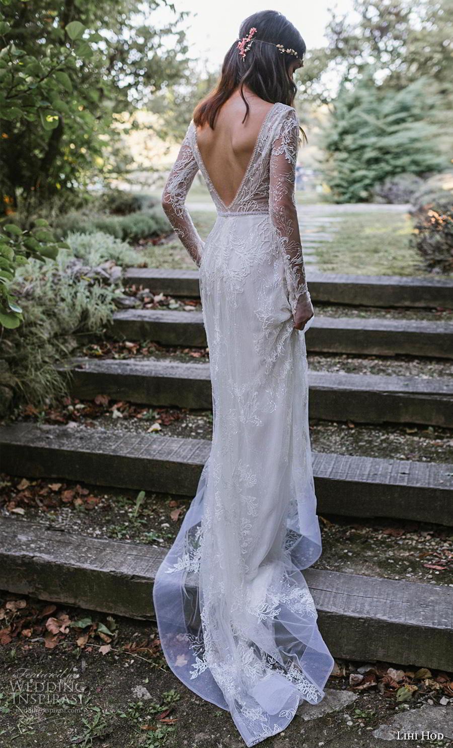 lihi hod 2019 bridal long sleeves deep v neck full embellishment lace elegant modified a  line wedding dress backless v back medium train (1) bv