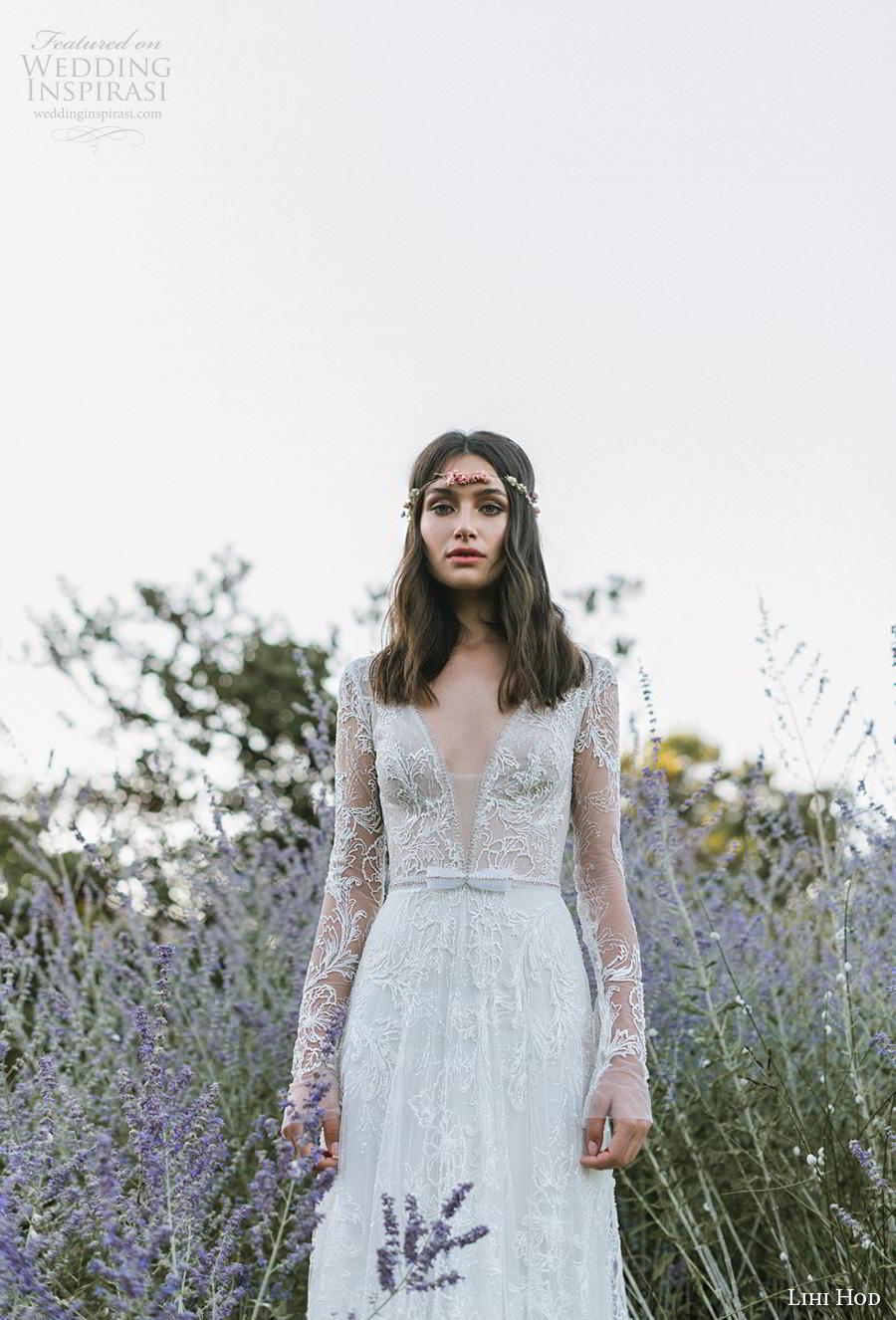 lihi hod 2019 bridal long sleeves deep v neck full embellishment lace elegant modified a  line wedding dress backless v back medium train (1) mv