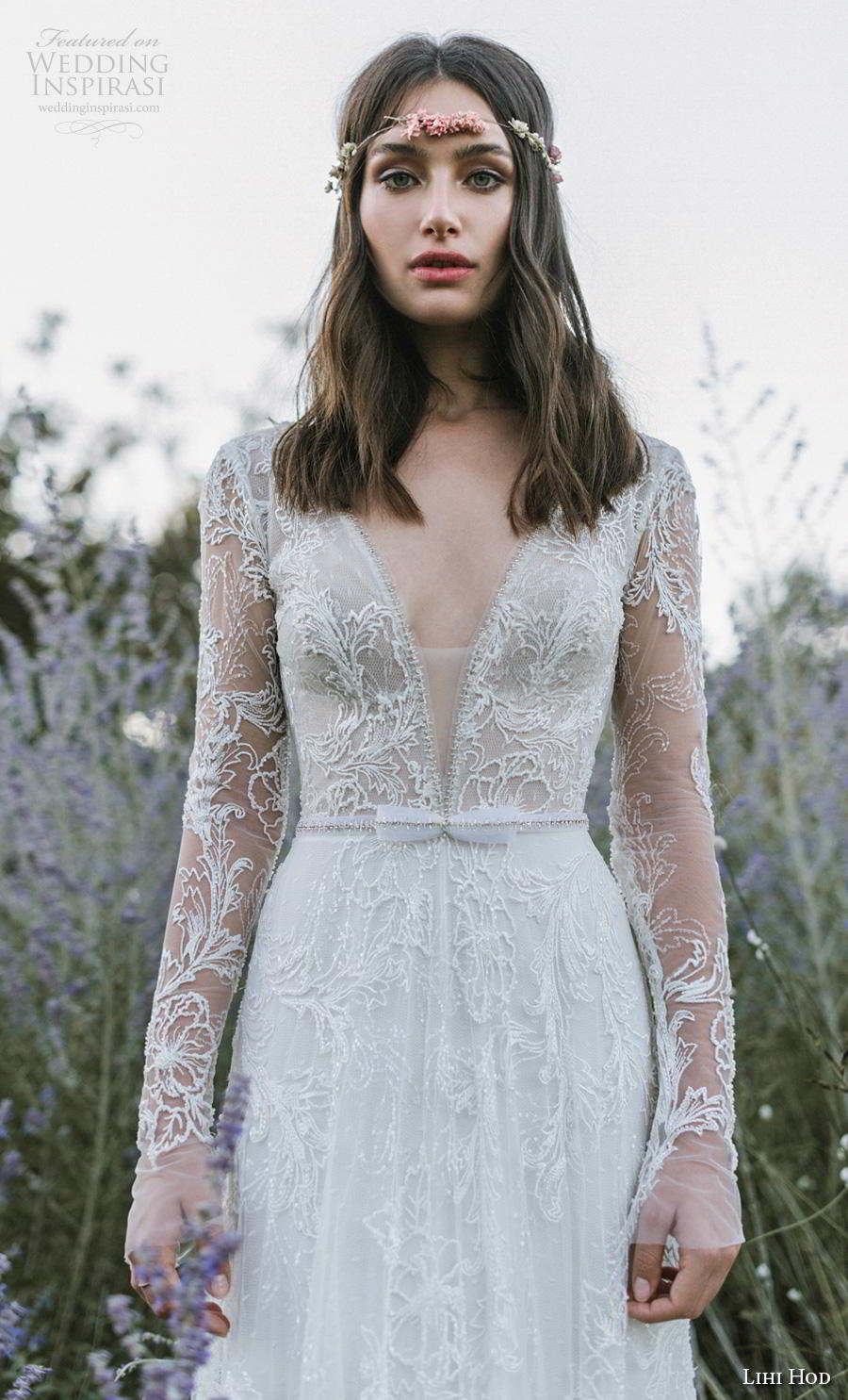 lihi hod 2019 bridal long sleeves deep v neck full embellishment lace elegant modified a  line wedding dress backless v back medium train (1) zv