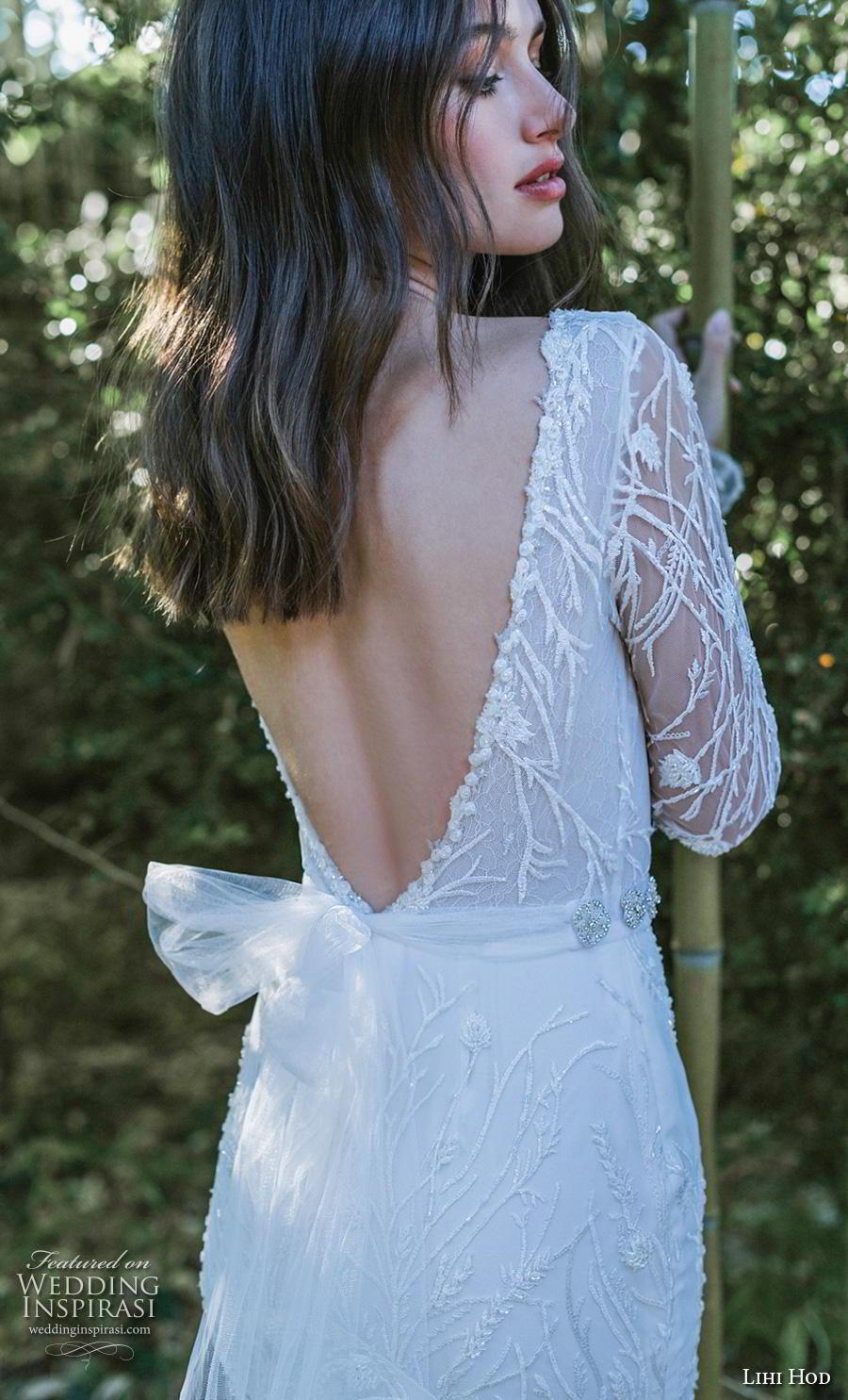 lihi hod 2019 bridal long sleeves v neck full embellishment elegant sheath wedding dress backless v back (11) bv