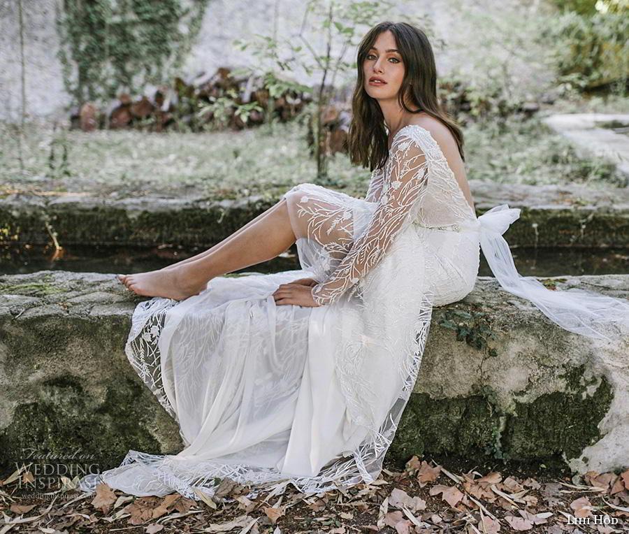 lihi hod 2019 bridal long sleeves v neck full embellishment elegant sheath wedding dress backless v back (11) mv