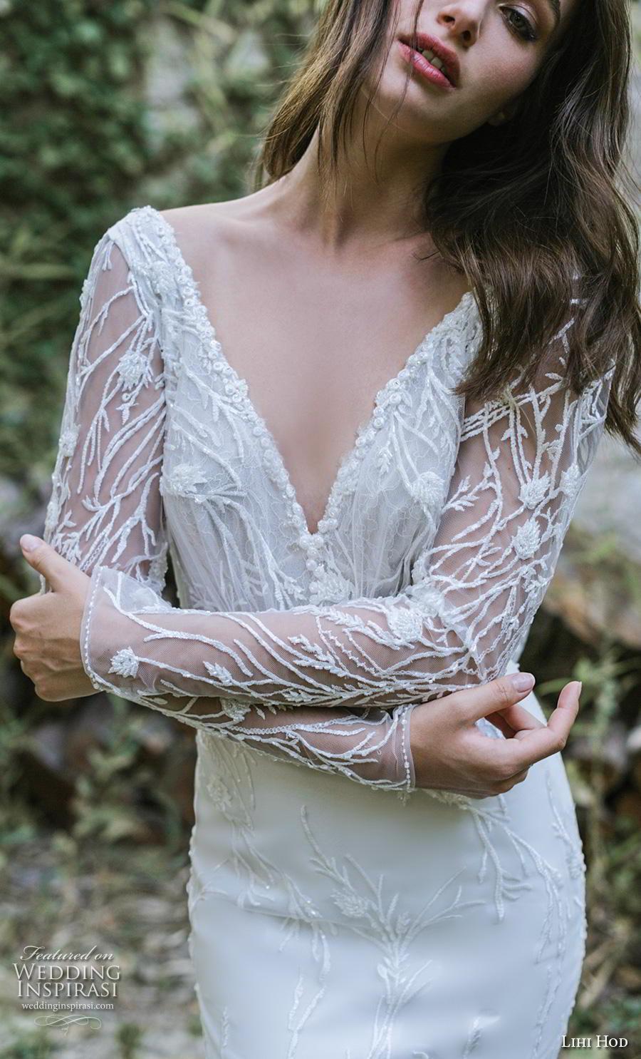 lihi hod 2019 bridal long sleeves v neck full embellishment elegant sheath wedding dress backless v back (11) zv