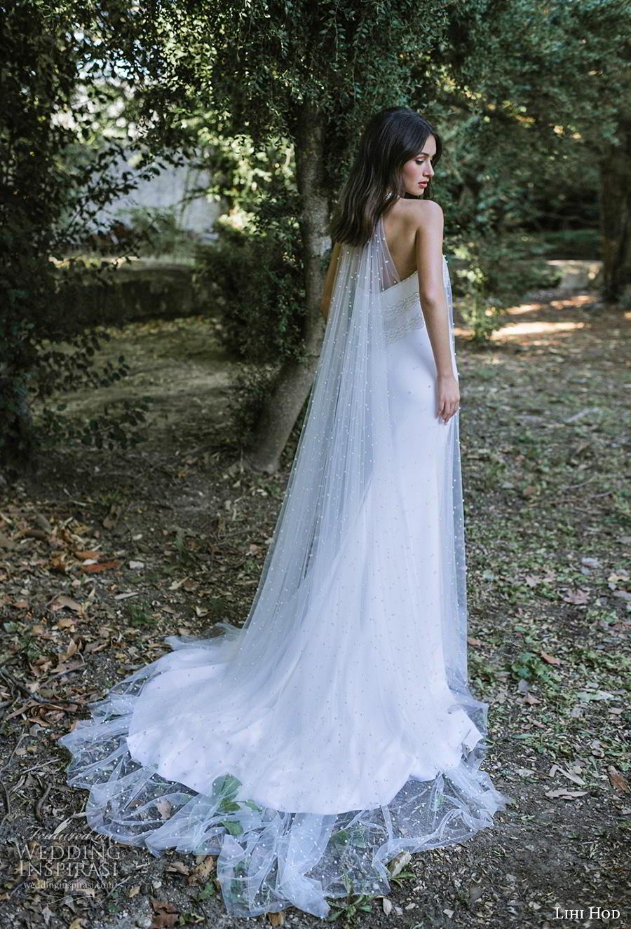 lihi hod 2019 bridal sheer halter neck straight across neckline heavily embellished bodice simple elegant fit and flare wedding dress a  line overskirt chapel train (9) bv