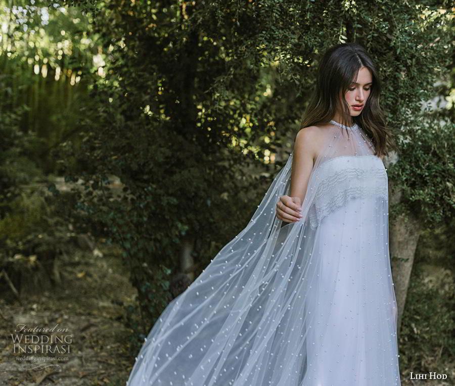 lihi hod 2019 bridal sheer halter neck straight across neckline heavily embellished bodice simple elegant fit and flare wedding dress a  line overskirt chapel train (9) fv
