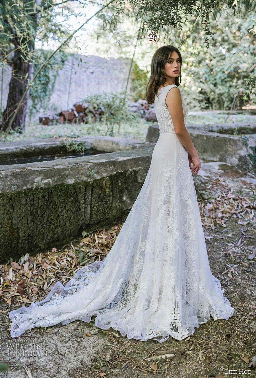 lihi hod 2019 bridal sleeveless one shoulder full embellishment romantic a  line wedding dress covered back chapel train (2) bv