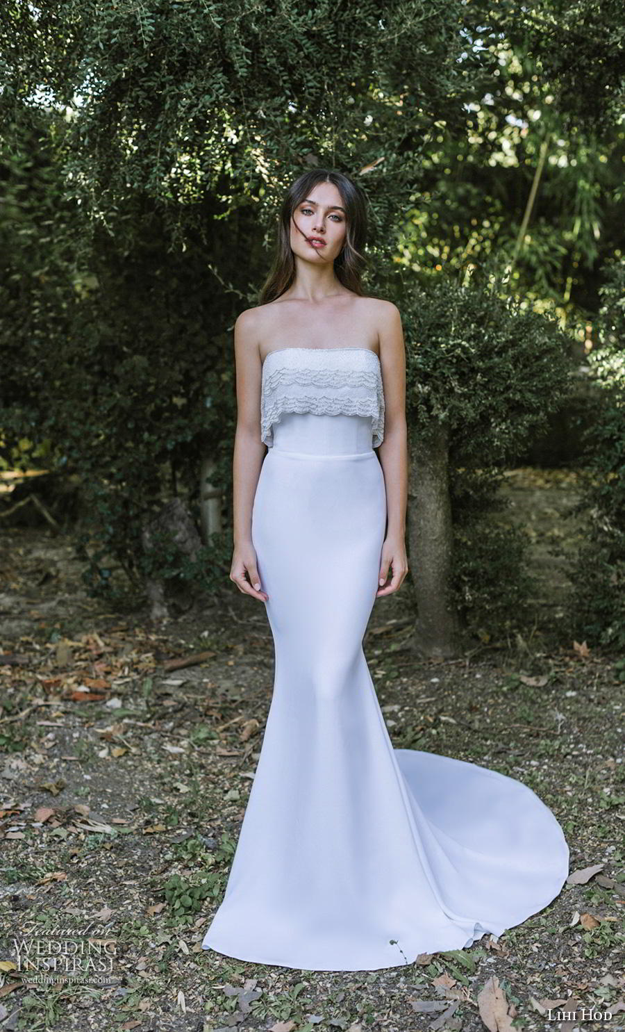 lihi hod 2019 bridal strapless straight across neckline heavily embellished bodice simple elegant fit and flare wedding dress chapel train (9) mv