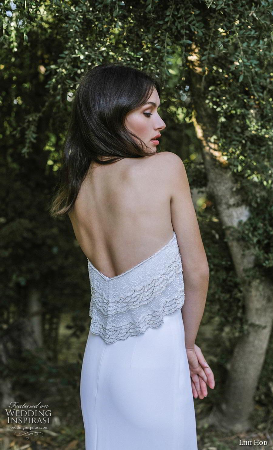 lihi hod 2019 bridal strapless straight across neckline heavily embellished bodice simple elegant fit and flare wedding dress chapel train (9) zbv