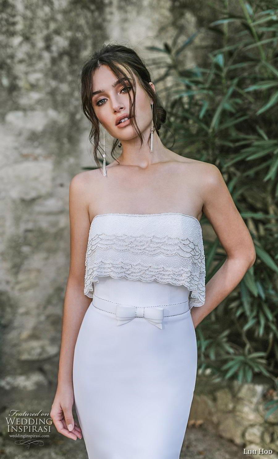 lihi hod 2019 bridal strapless straight across neckline heavily embellished bodice simple elegant fit and flare wedding dress chapel train (9) zv