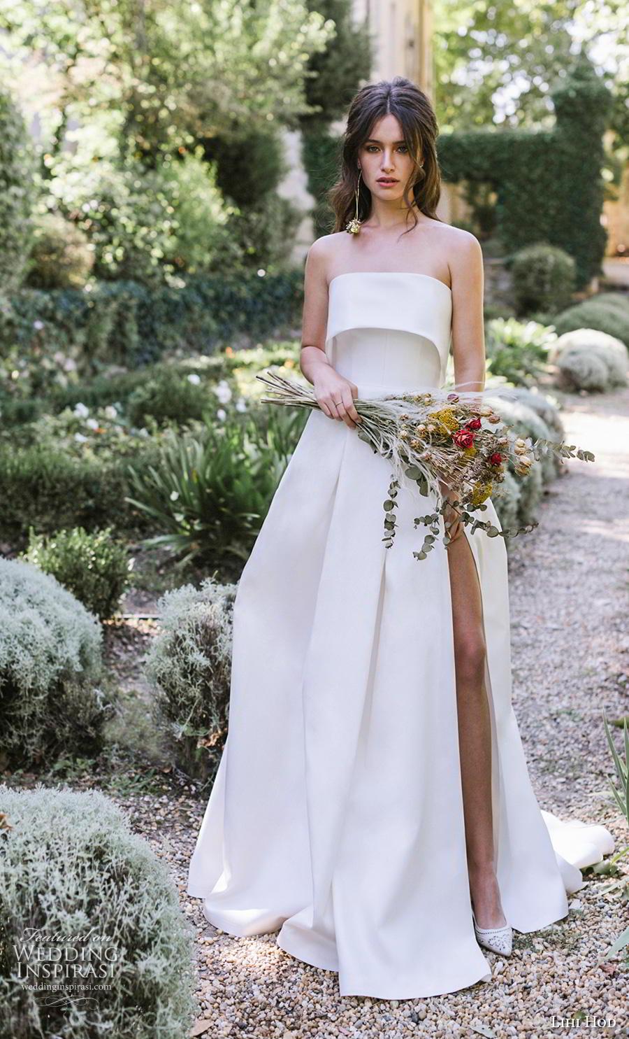 lihi hod 2019 bridal strapless straight across neckline simple minimalist slit skirt elegant a  line wedding dress chapel train (10) mv