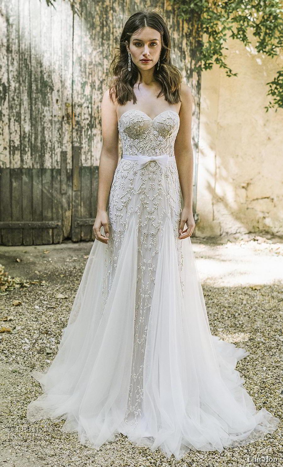 lihi hod 2019 bridal strapless sweetheart neckline full embellishment bustier romantic a  line wedding dress mid back chapel train (5) mv