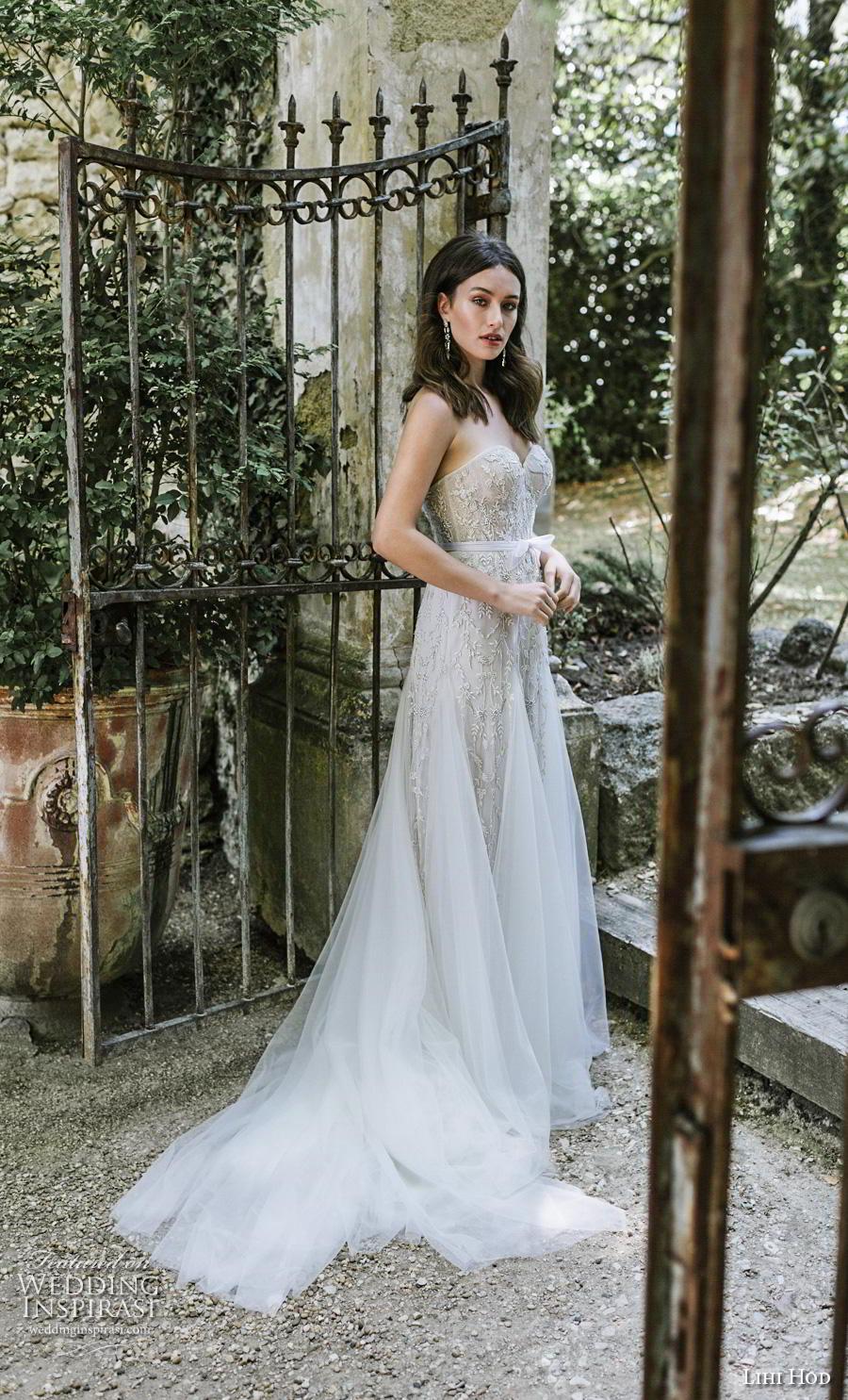 lihi hod 2019 bridal strapless sweetheart neckline full embellishment bustier romantic a  line wedding dress mid back chapel train (5) sdv