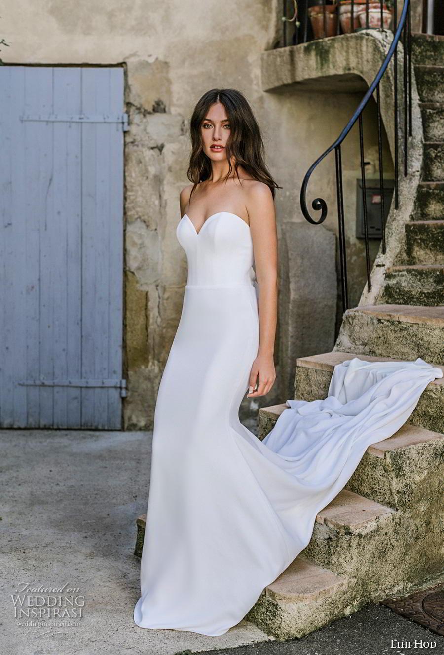 lihi hod 2019 bridal strapless sweetheart neckline simple minimalist elegant classic fit and flare wedding dress backless ribbon back chapel train (3) mv