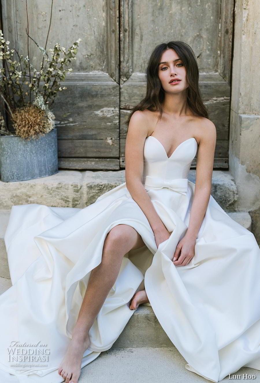 lihi hod 2019 bridal strapless sweetheart neckline simple minimalist ribbon waist romantic a  line wedding dress pockets royal train (7) mv