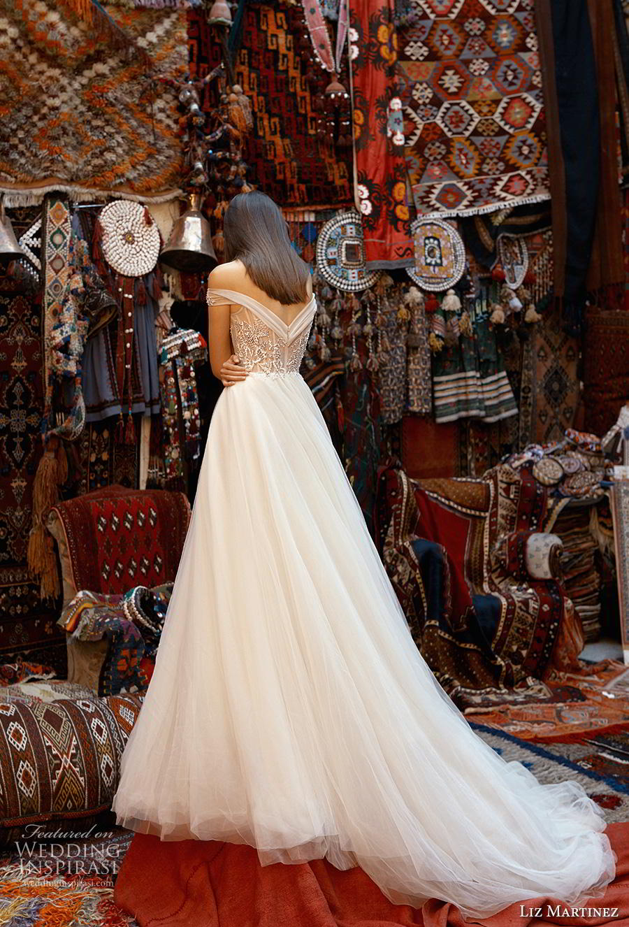 liz martinez 2019 cappadocia bridal off the shoulder sweetheart neckline heavily embellished bodice romantic a  line wedding dress chapel train (5) bv