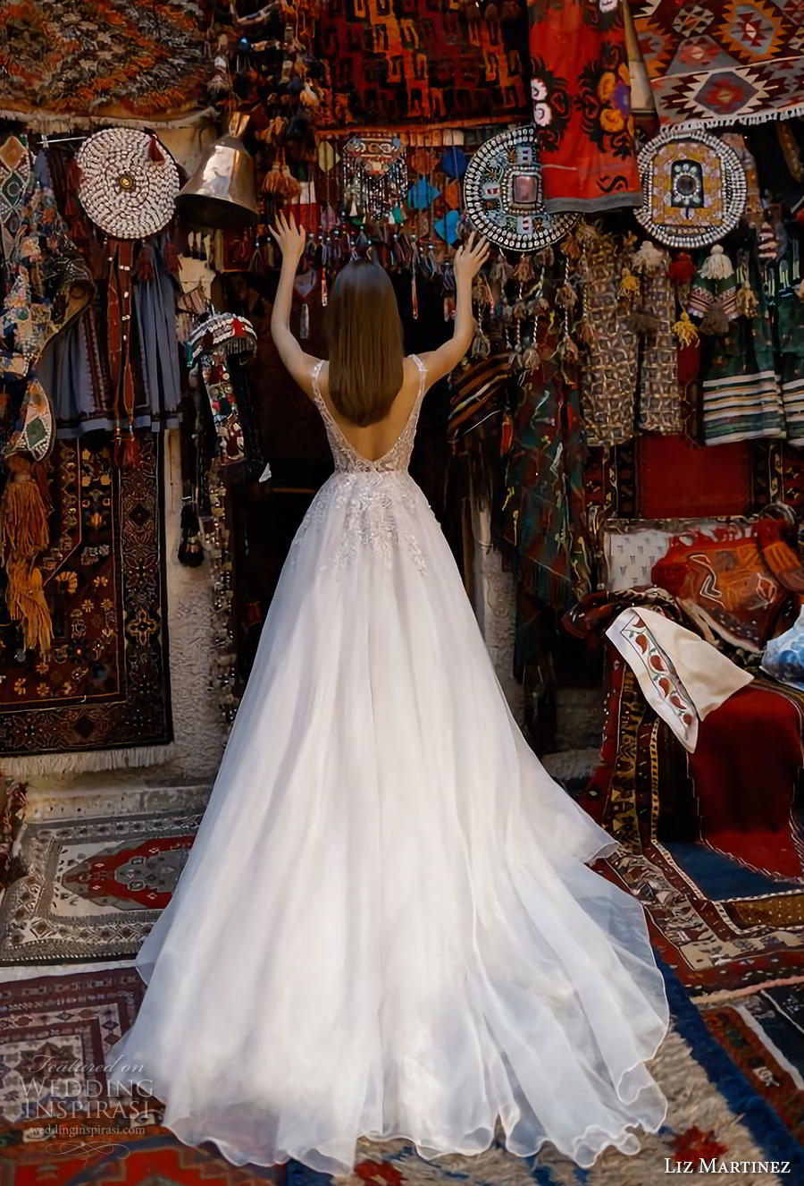 liz martinez 2019 cappadocia bridal sleeveless deep plunging sweetheart neckline heavily embellished bodice romantic a  line wedding dress backless v back chapel train (1) bv