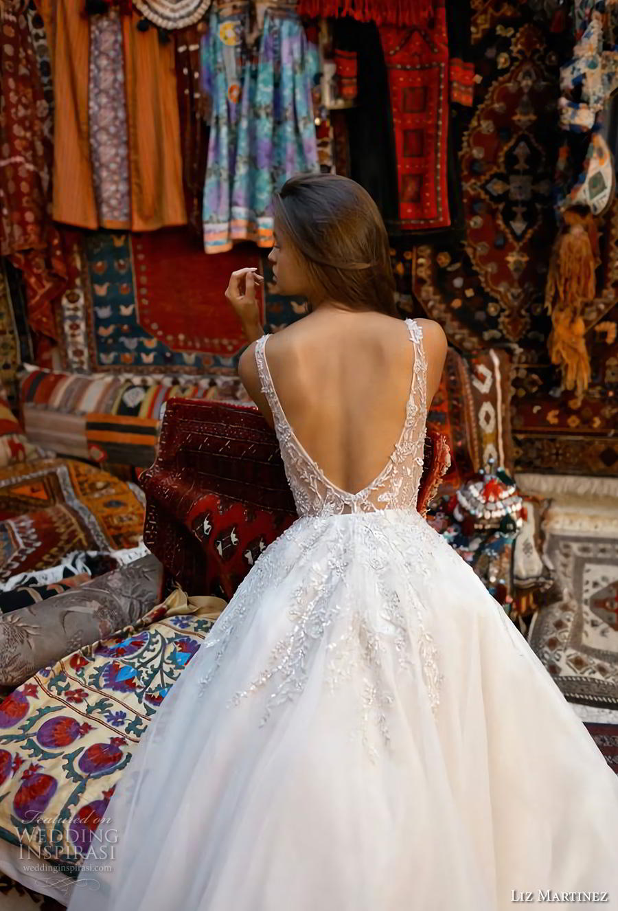 liz martinez 2019 cappadocia bridal sleeveless deep plunging sweetheart neckline heavily embellished bodice romantic a  line wedding dress backless v back chapel train (1) zbv