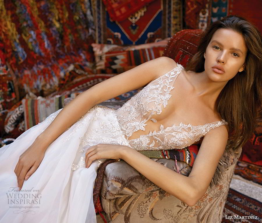 liz martinez 2019 cappadocia bridal sleeveless deep plunging sweetheart neckline heavily embellished bodice romantic a  line wedding dress backless v back chapel train (1) zv