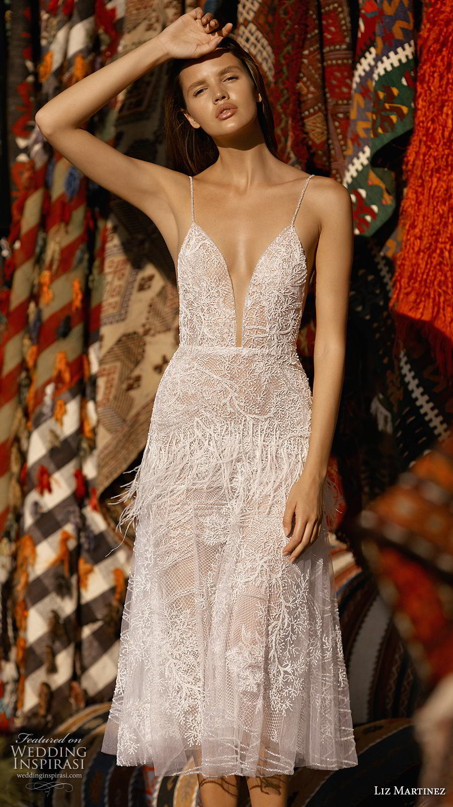 liz martinez 2019 cappadocia bridal spaghetti strap deep plunging sweetheart neckline full embellishment romantic casual below the knee short wedding dress backless (7) mv