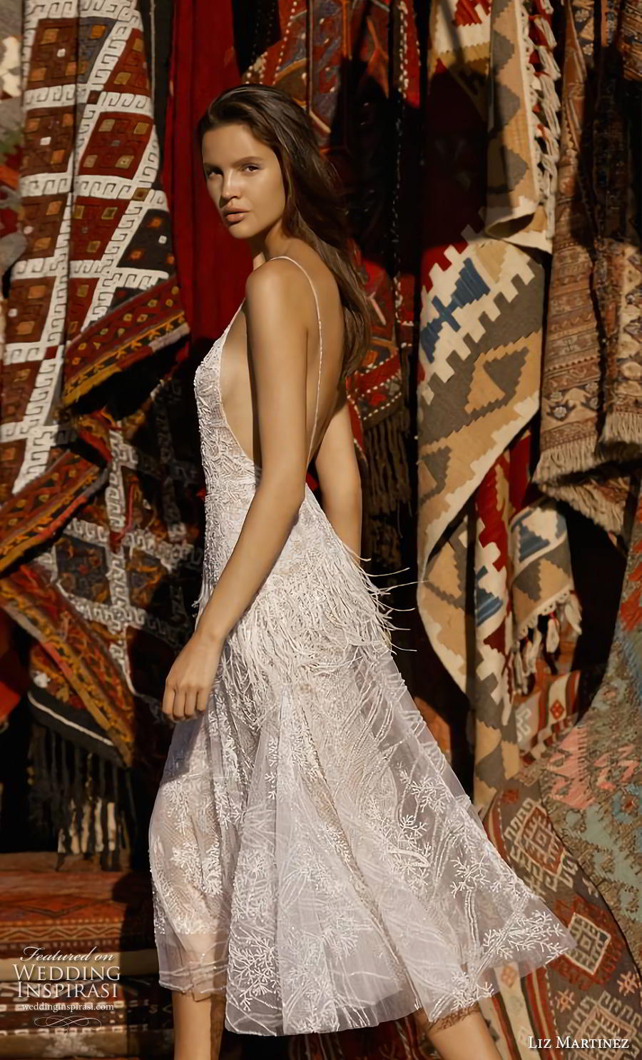 liz martinez 2019 cappadocia bridal spaghetti strap deep plunging sweetheart neckline full embellishment romantic casual below the knee short wedding dress backless (7) sdv