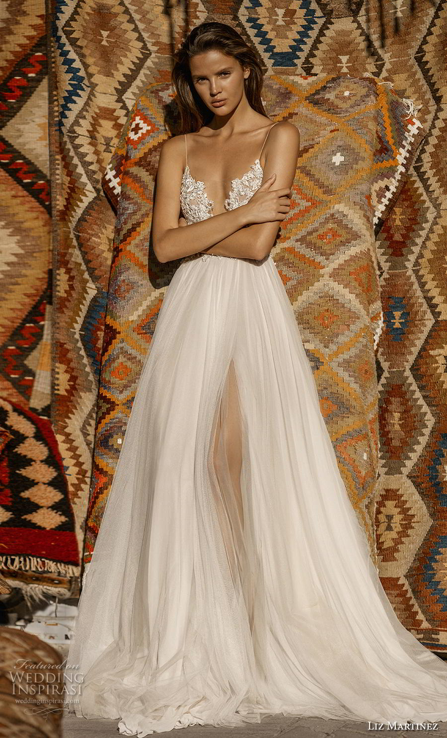 liz martinez 2019 cappadocia bridal spaghetti strap deep plunging sweetheart neckline heavily embellished bodice tulle skirt romantic a  line wedding dress backless chapel train (3) mv