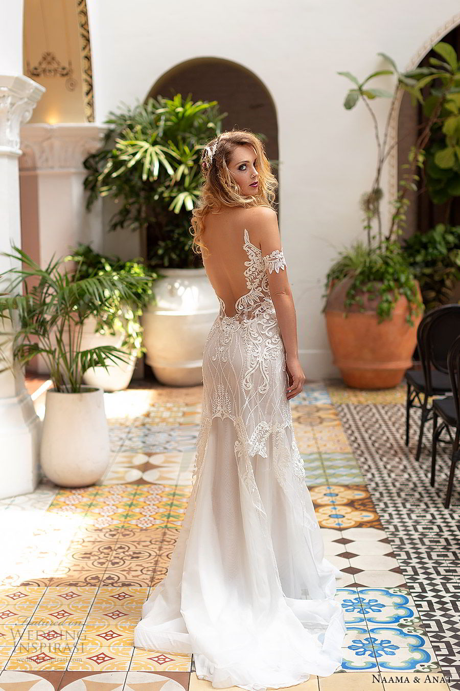 naama anat 2019 bridal off shoulder plunging sweetheart neckline embellished bodice fit flare lace wedding dress sweep train modern romantic (2) bv