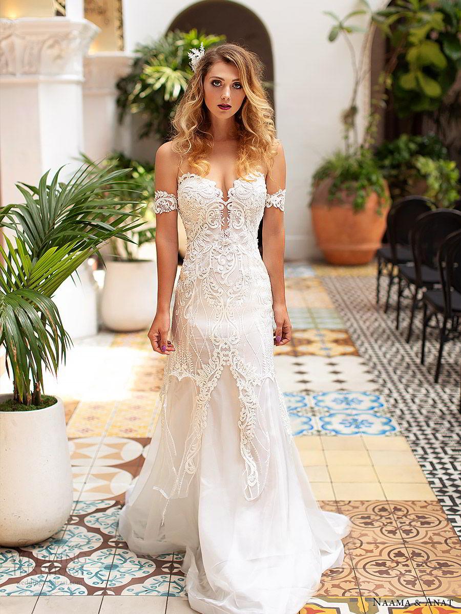 naama anat 2019 bridal off shoulder plunging sweetheart neckline embellished bodice fit flare lace wedding dress sweep train modern romantic (2) mv