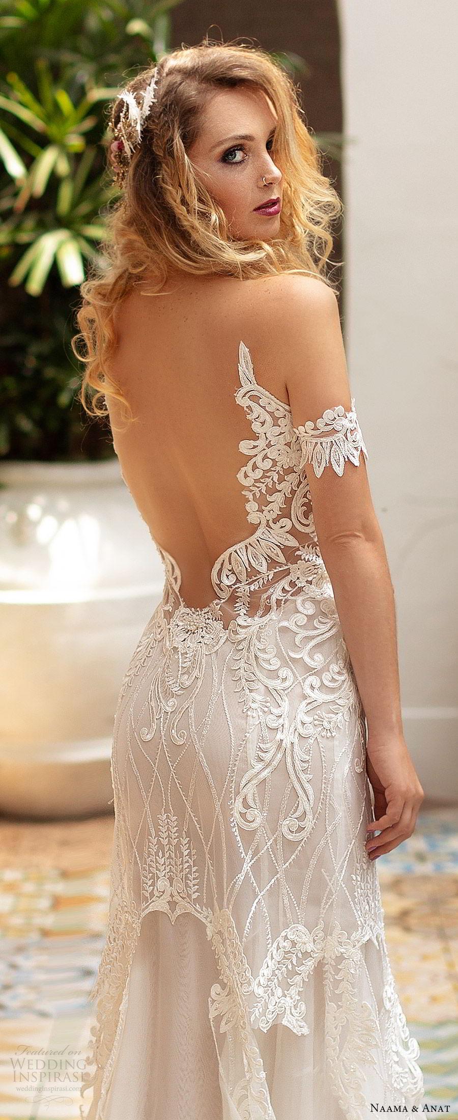 naama anat 2019 bridal off shoulder plunging sweetheart neckline embellished bodice fit flare lace wedding dress sweep train modern romantic (2) zbv