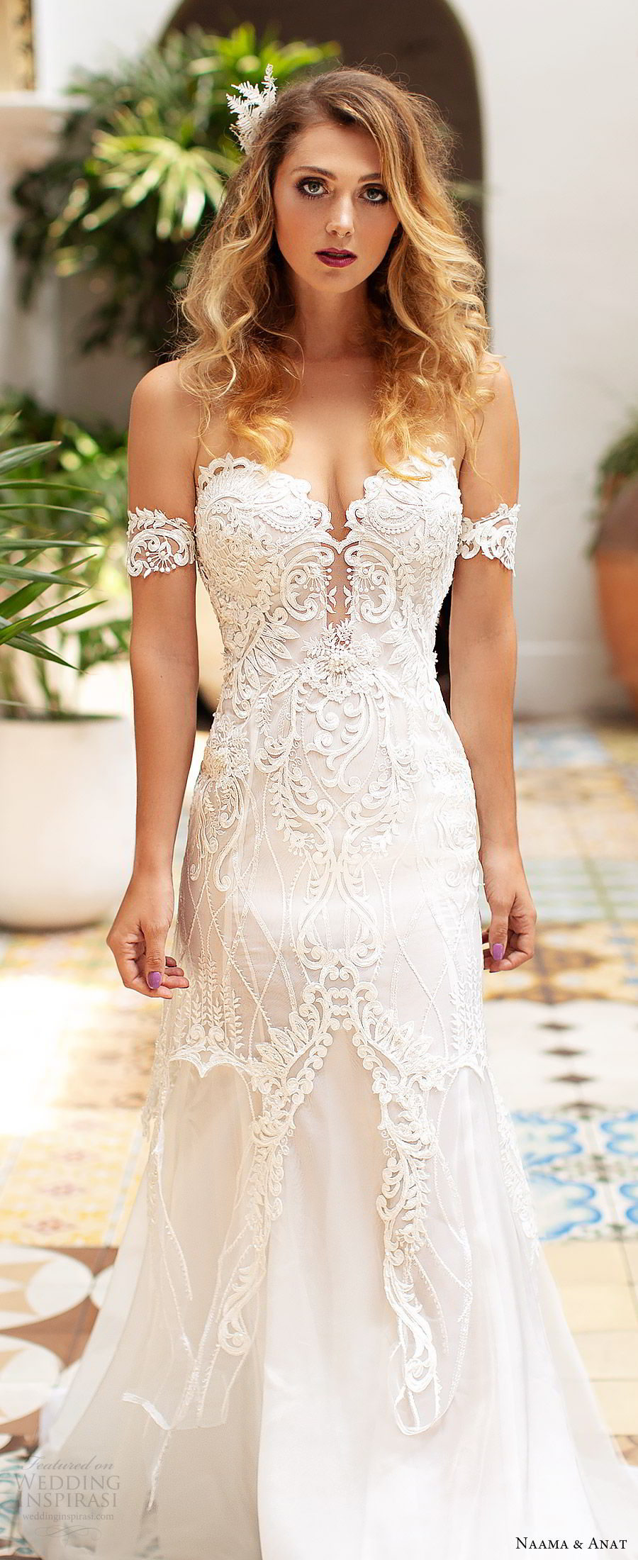 naama anat 2019 bridal off shoulder plunging sweetheart neckline embellished bodice fit flare lace wedding dress sweep train modern romantic (2) zv