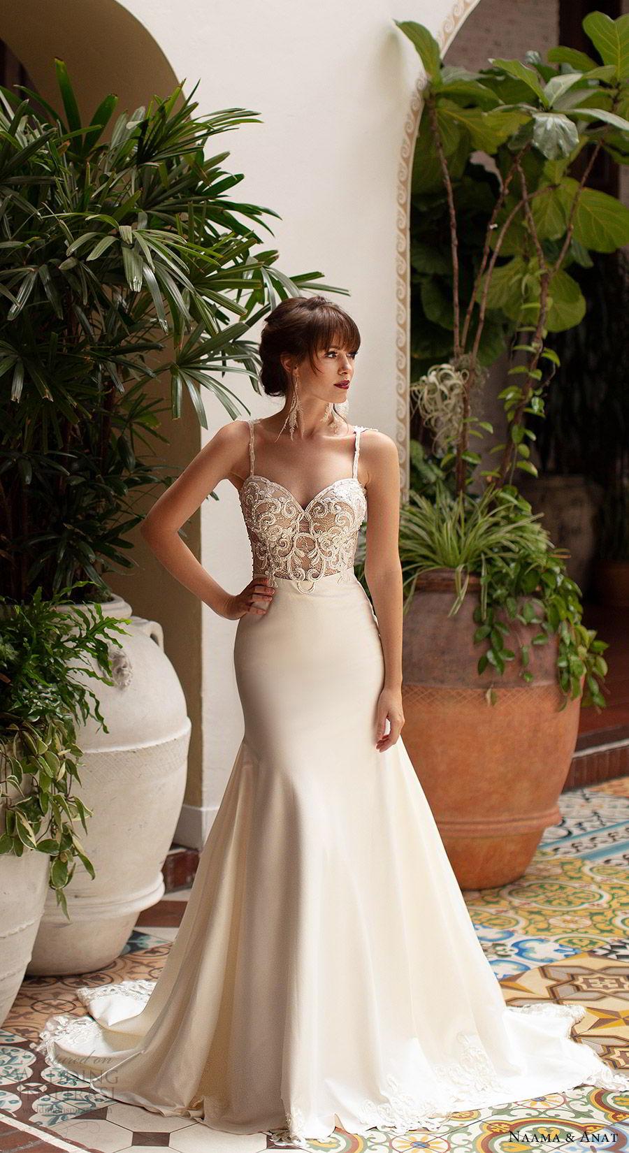 naama anat 2019 bridal sleeveless beaded straps embellished bodice fit flare wedding dress chapel train elegant romantic (1) mv