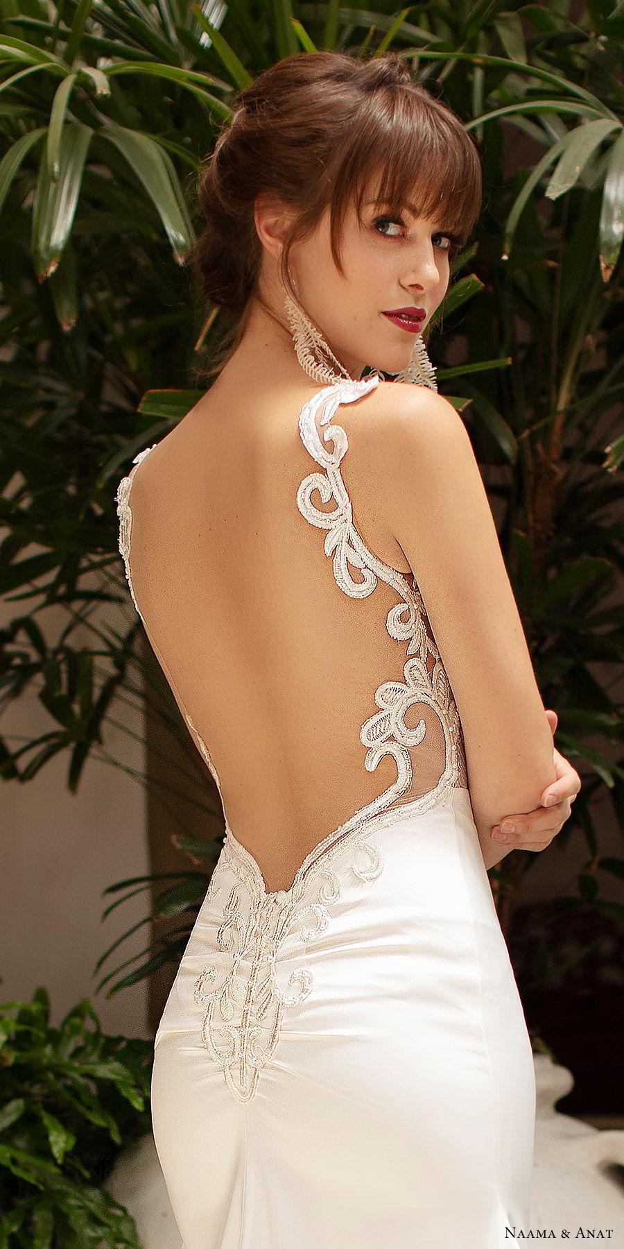 naama anat 2019 bridal sleeveless beaded straps embellished bodice fit flare wedding dress chapel train elegant romantic (1) zbv
