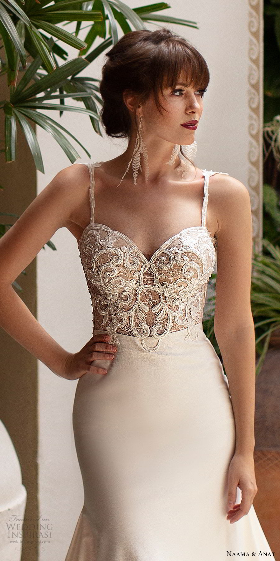 naama anat 2019 bridal sleeveless beaded straps embellished bodice fit flare wedding dress chapel train elegant romantic (1) zv