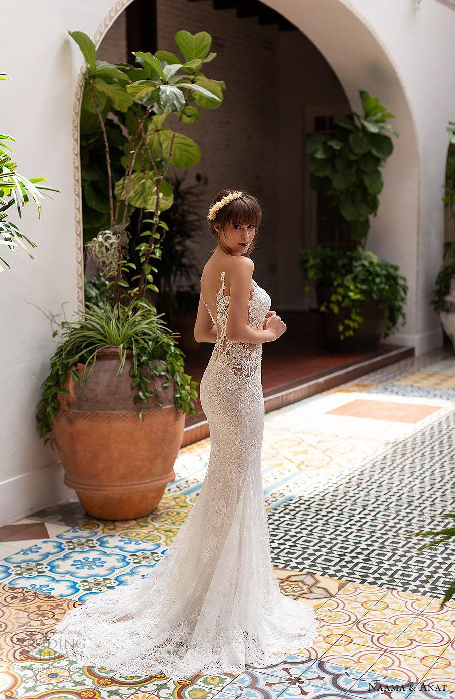 naama anat 2019 bridal sleeveless deep plunging sweetheart neckline sheath fit flare lace wedding dress low back chapel train sexy elegant (3) bv