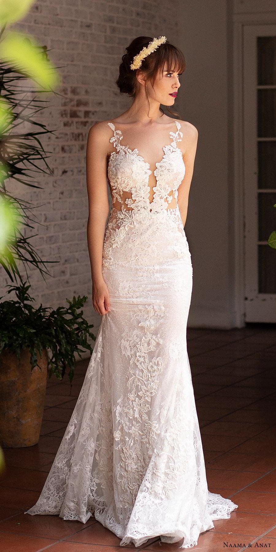 naama anat 2019 bridal sleeveless deep plunging sweetheart neckline sheath fit flare lace wedding dress low back chapel train sexy elegant (3) mv