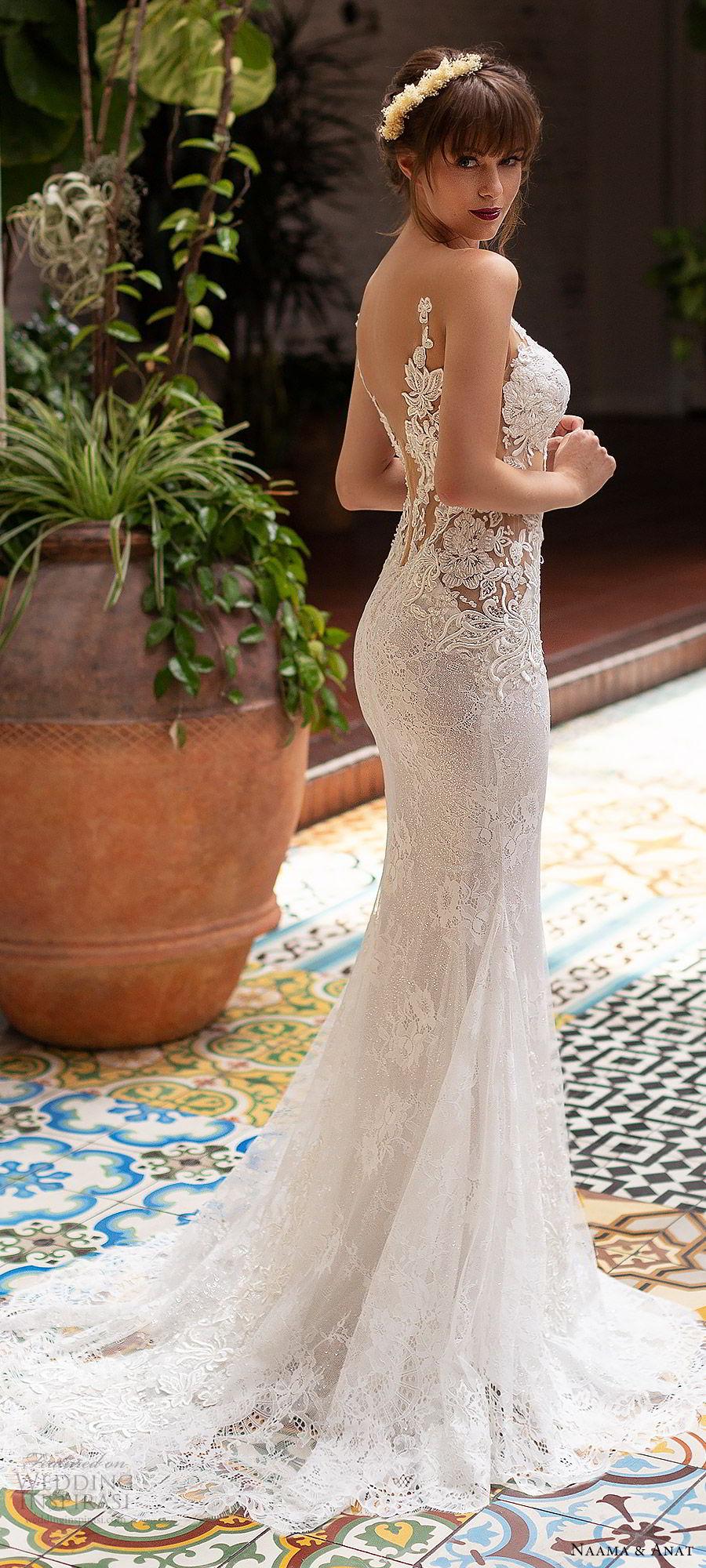 naama anat 2019 bridal sleeveless deep plunging sweetheart neckline sheath fit flare lace wedding dress low back chapel train sexy elegant (3) zbv