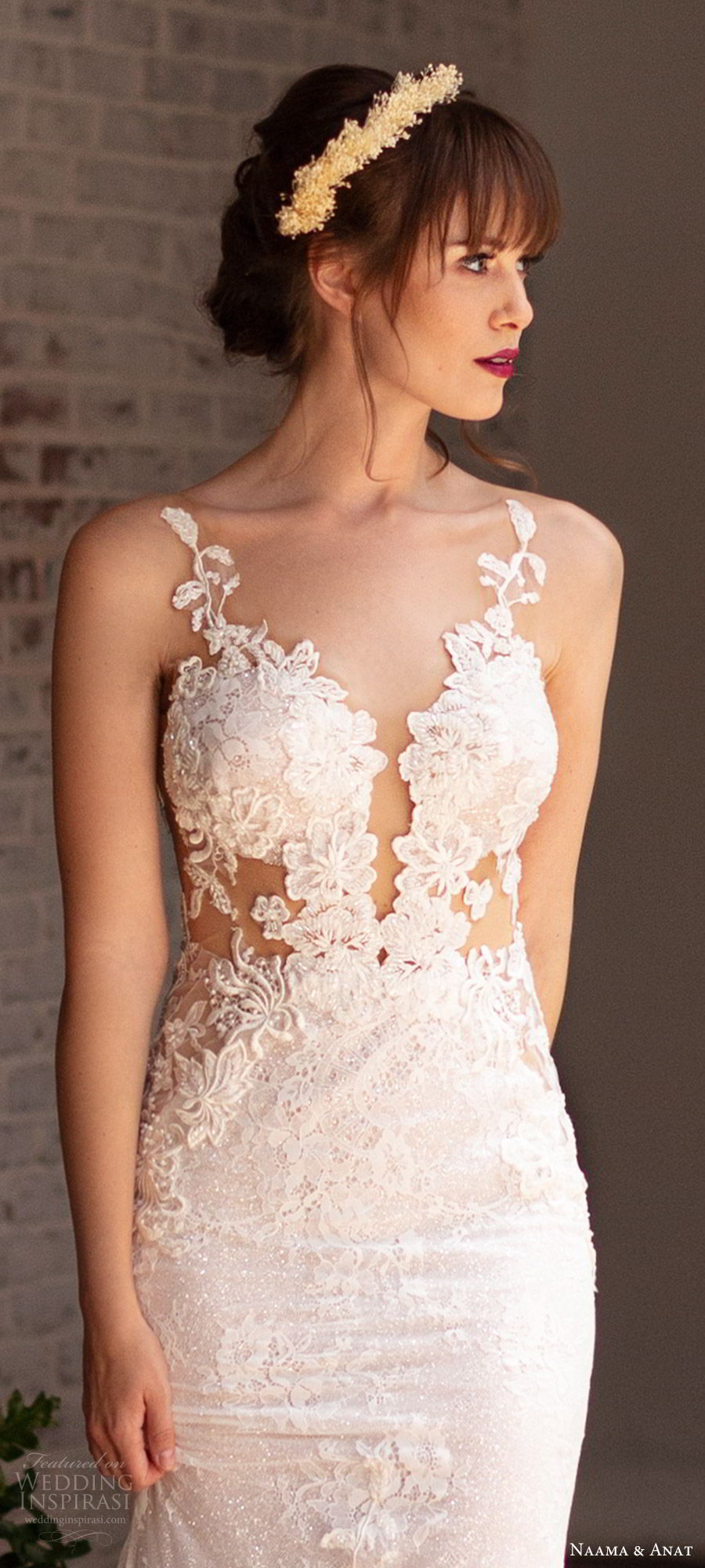 naama anat 2019 bridal sleeveless deep plunging sweetheart neckline sheath fit flare lace wedding dress low back chapel train sexy elegant (3) zv