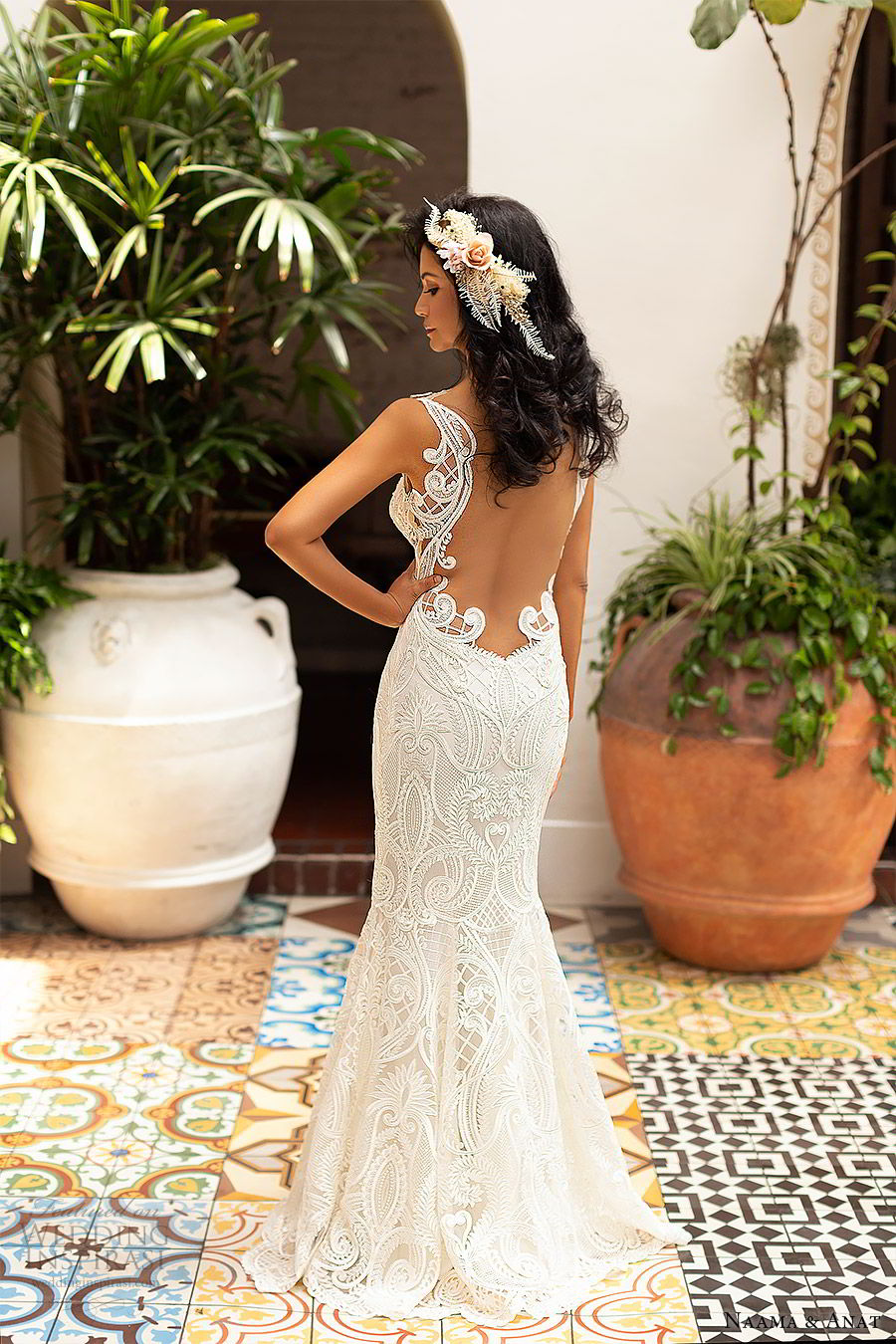 naama anat 2019 bridal sleeveless sweetheart neckline cutout bodice lace fit flare aline wedding dress illusion back sweep train sexy modern (5) bv