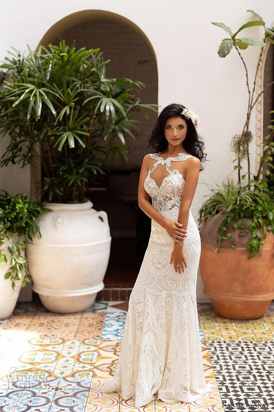 naama anat 2019 bridal sleeveless sweetheart neckline cutout bodice lace fit flare aline wedding dress illusion back sweep train sexy modern (5) mv