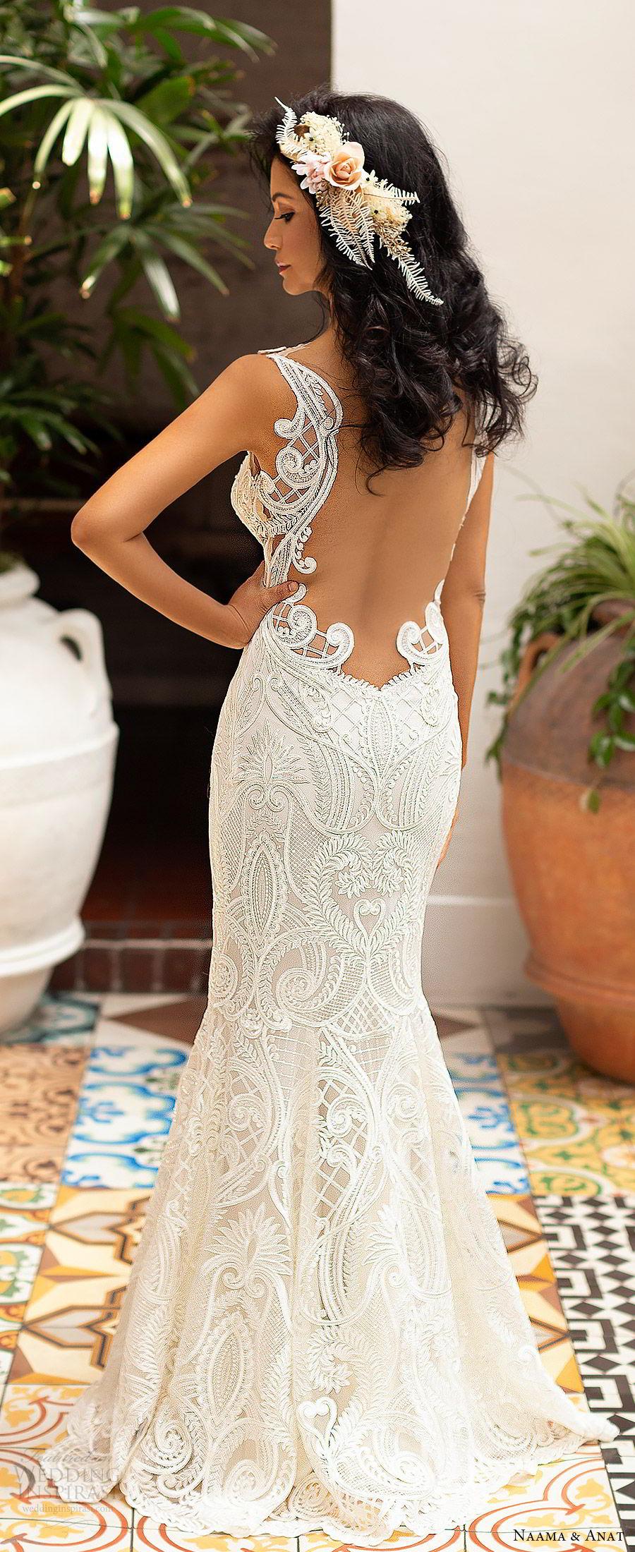 naama anat 2019 bridal sleeveless sweetheart neckline cutout bodice lace fit flare aline wedding dress illusion back sweep train sexy modern (5) zbv