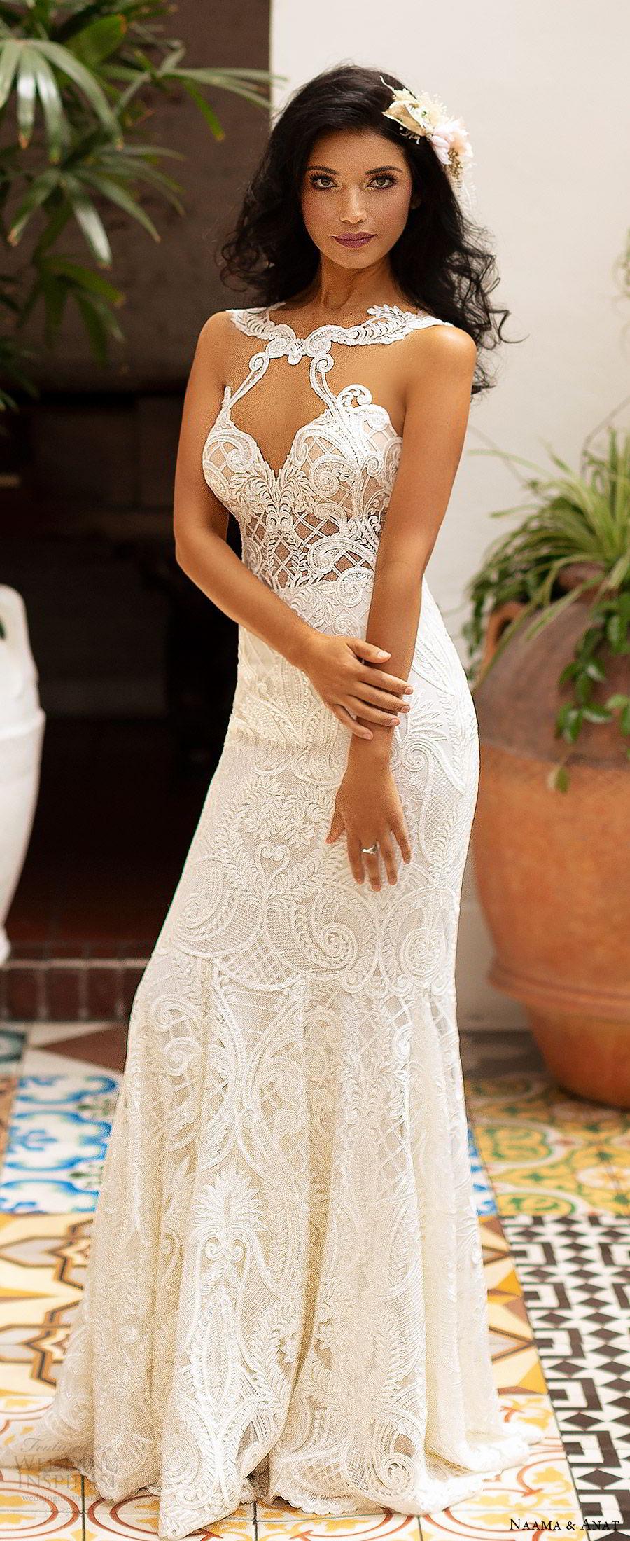 naama anat 2019 bridal sleeveless sweetheart neckline cutout bodice lace fit flare aline wedding dress illusion back sweep train sexy modern (5) zv