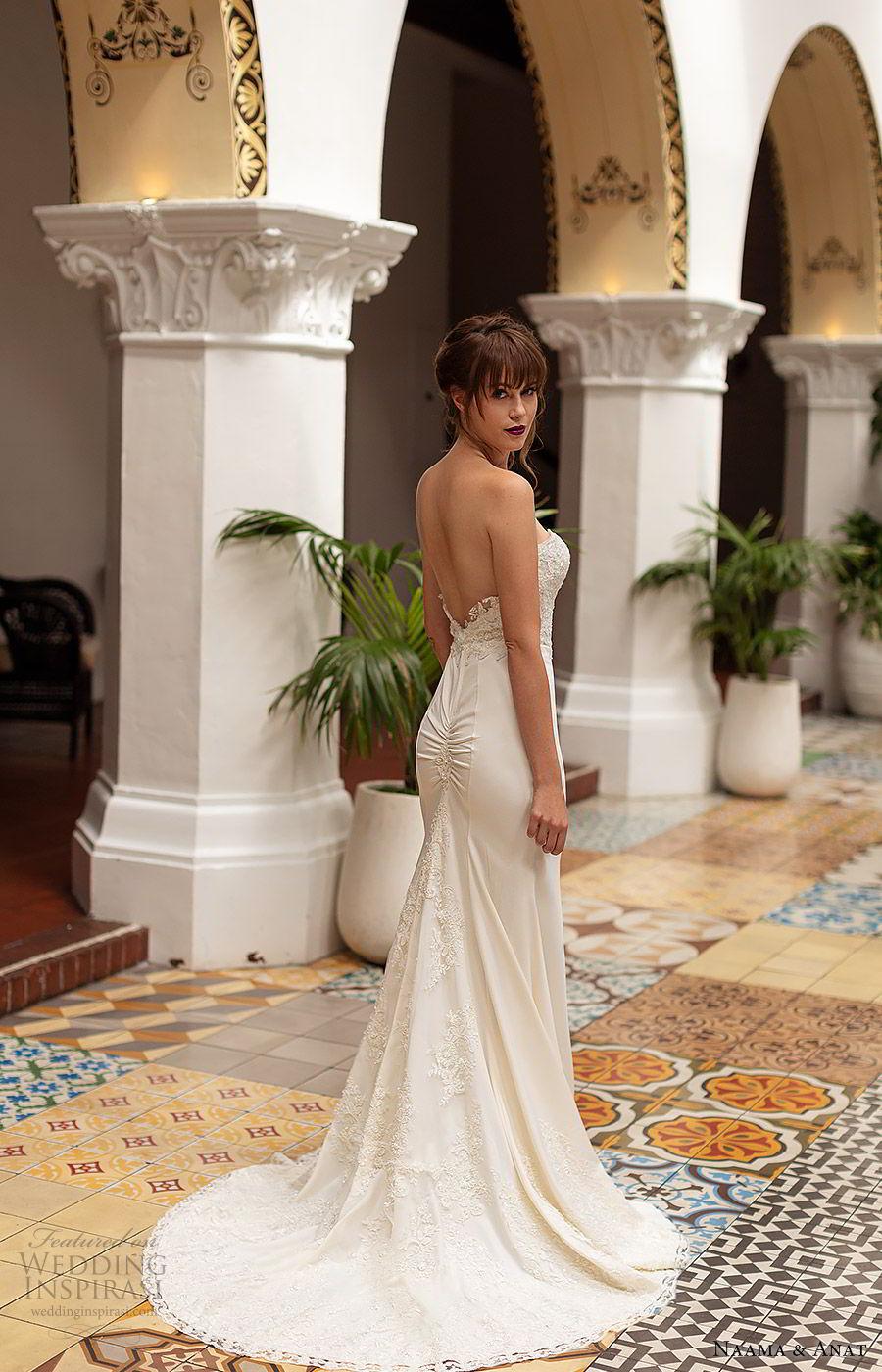 naama anat 2019 bridal strapless sweetheart embellished bodice sheath wedding dress  low back chapel train elegant modern (4) bv