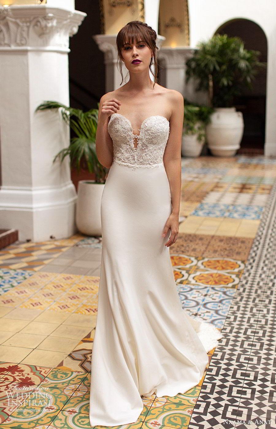 naama anat 2019 bridal strapless sweetheart embellished bodice sheath wedding dress  low back chapel train elegant modern (4) mv