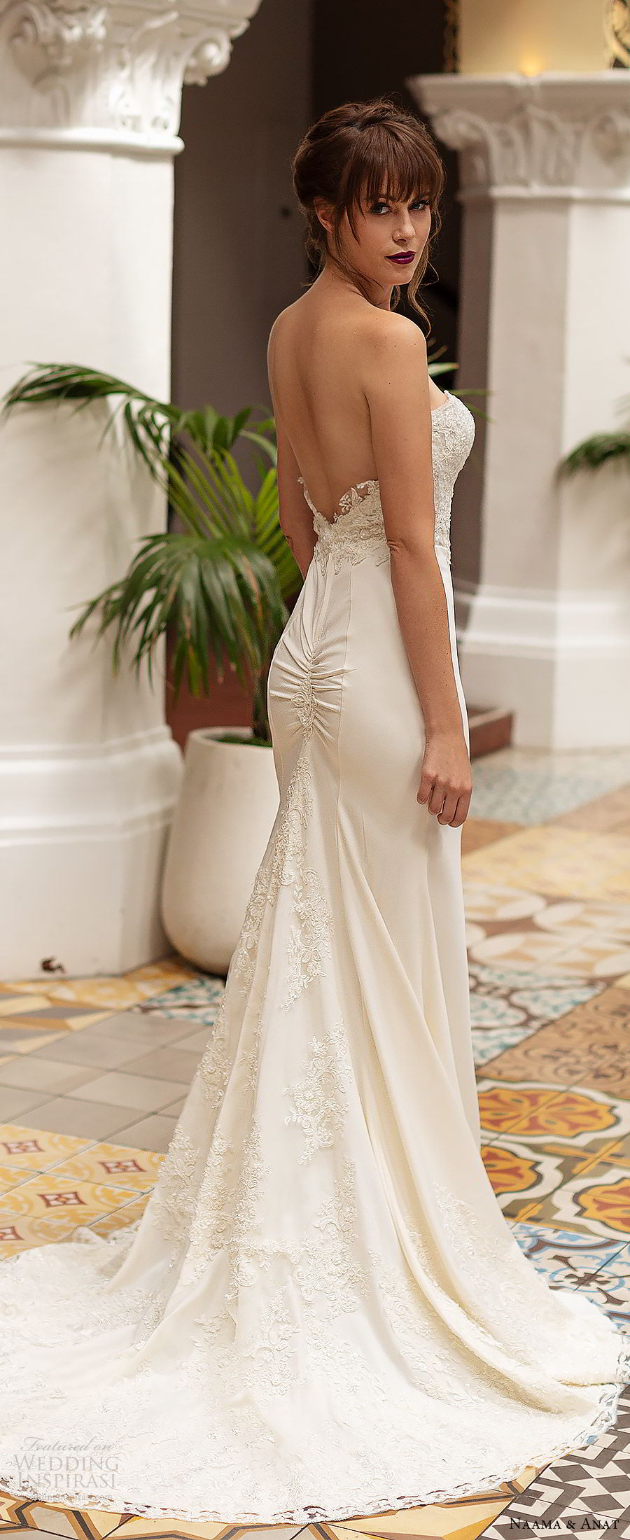 2533a53eec2a naama anat 2019 bridal strapless sweetheart embellished bodice sheath wedding  dress low back chapel train elegant