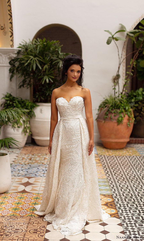naama anat 2019 bridal strapless sweetheart fully embellished sheath lace wedding dress overskirt chapel train romantic glam (6) mv