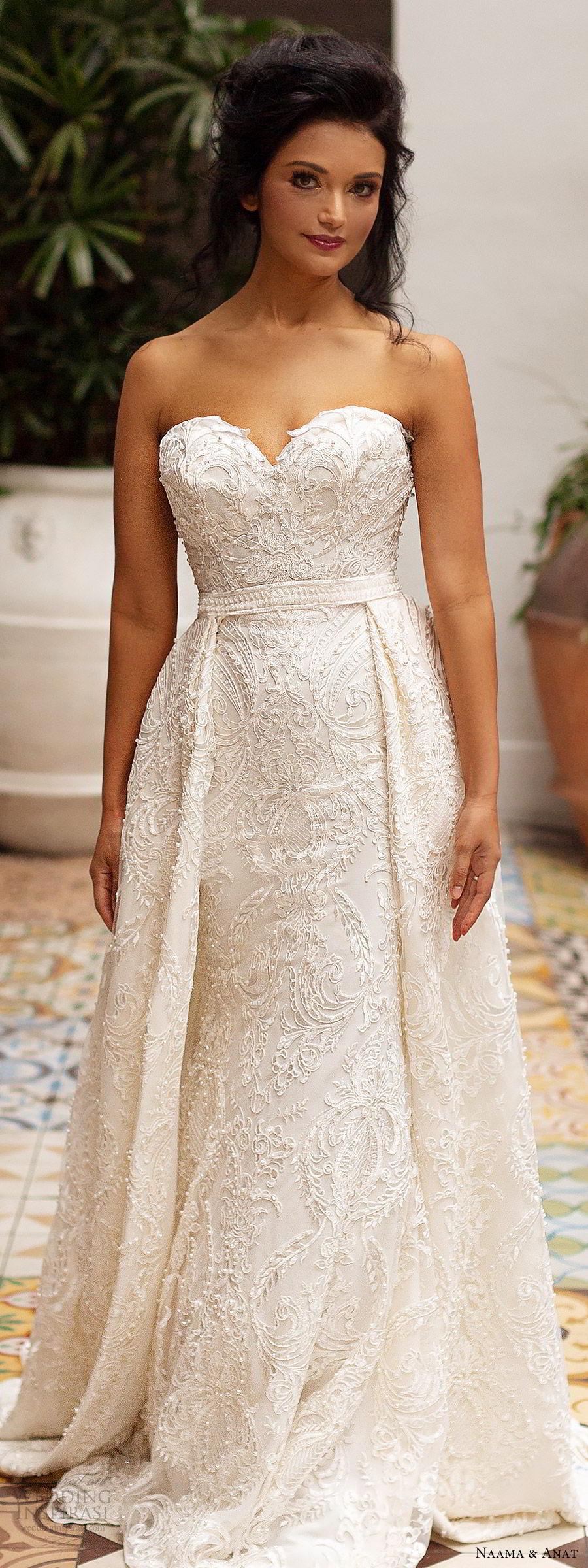 naama anat 2019 bridal strapless sweetheart fully embellished sheath lace wedding dress overskirt chapel train romantic glam (6) zv