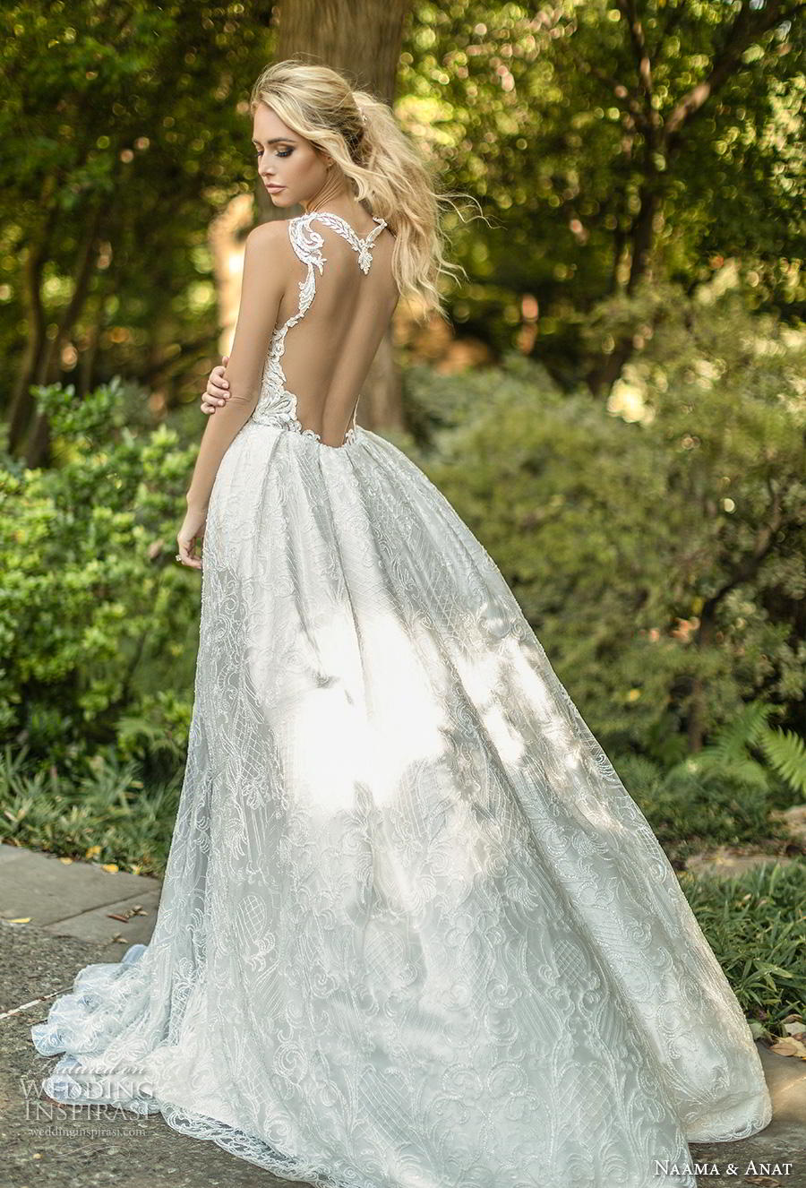naama anat fall 2019 couture bridal sleeveless halter neck keyhole bodice full embellishment elegant sexy fit and flare wedding dress a  line overskirt low open back chapel train (6) bv