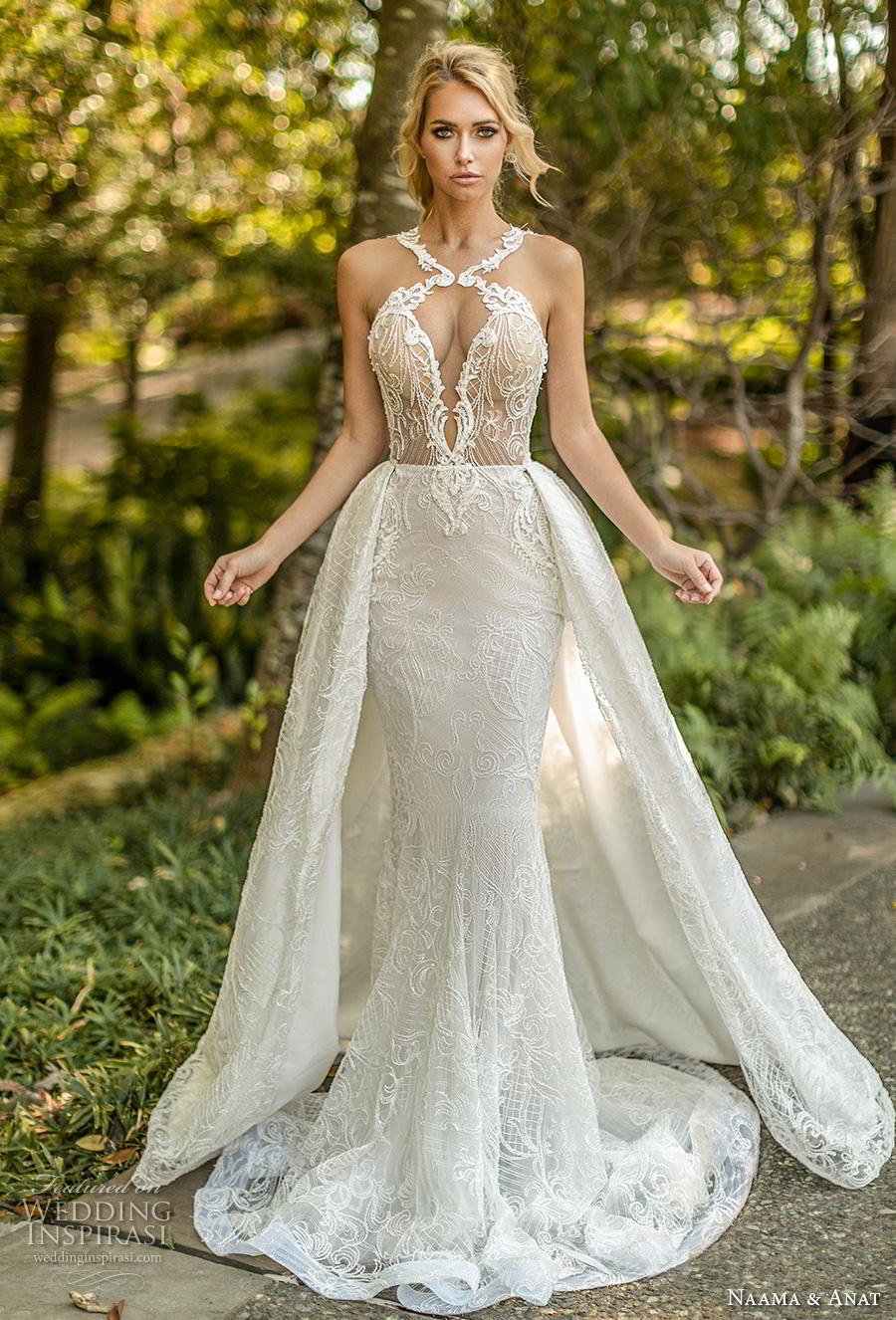 naama anat fall 2019 couture bridal sleeveless halter neck keyhole bodice full embellishment elegant sexy fit and flare wedding dress a line overskirt low open back chapel train (6) mv