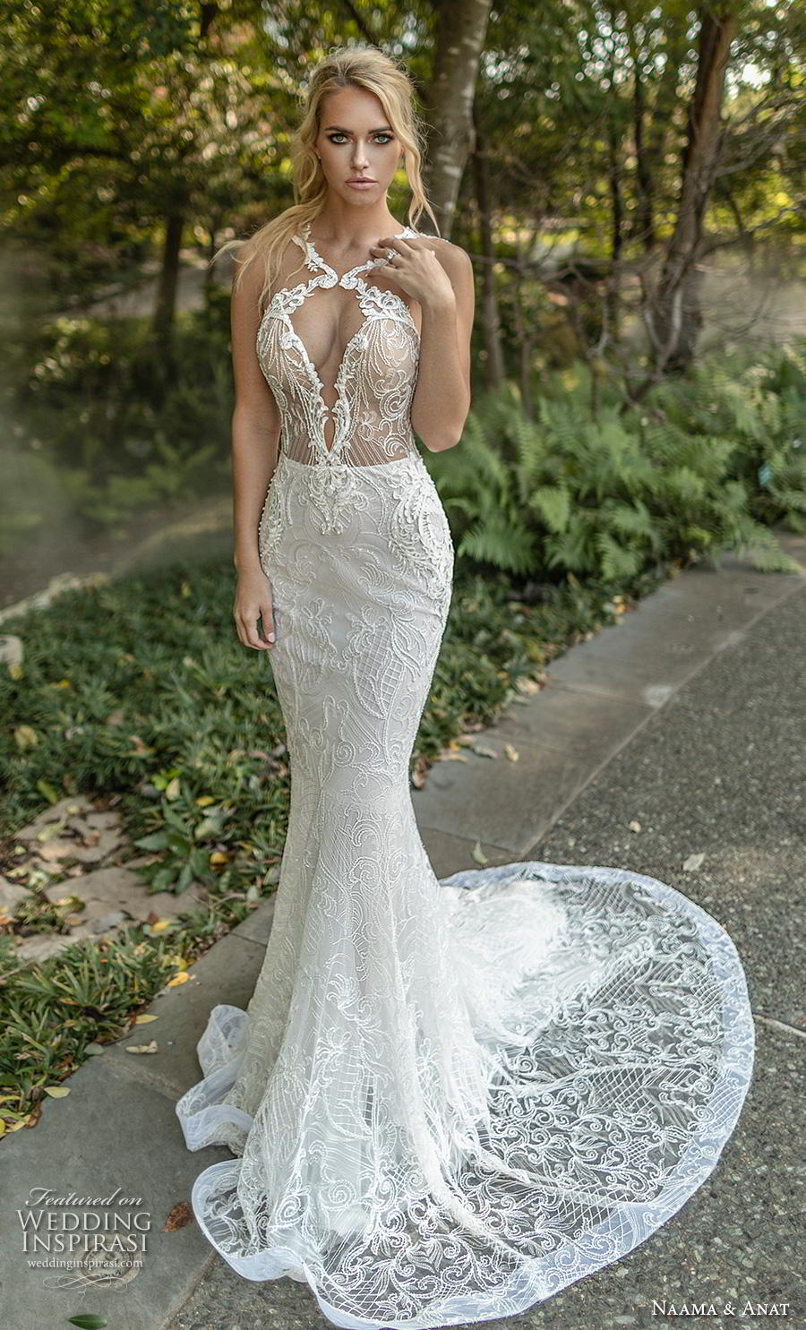 naama anat fall 2019 couture bridal sleeveless halter neck keyhole bodice full embellishment elegant sexy fit and flare wedding dress low open back sweep train (6) mv