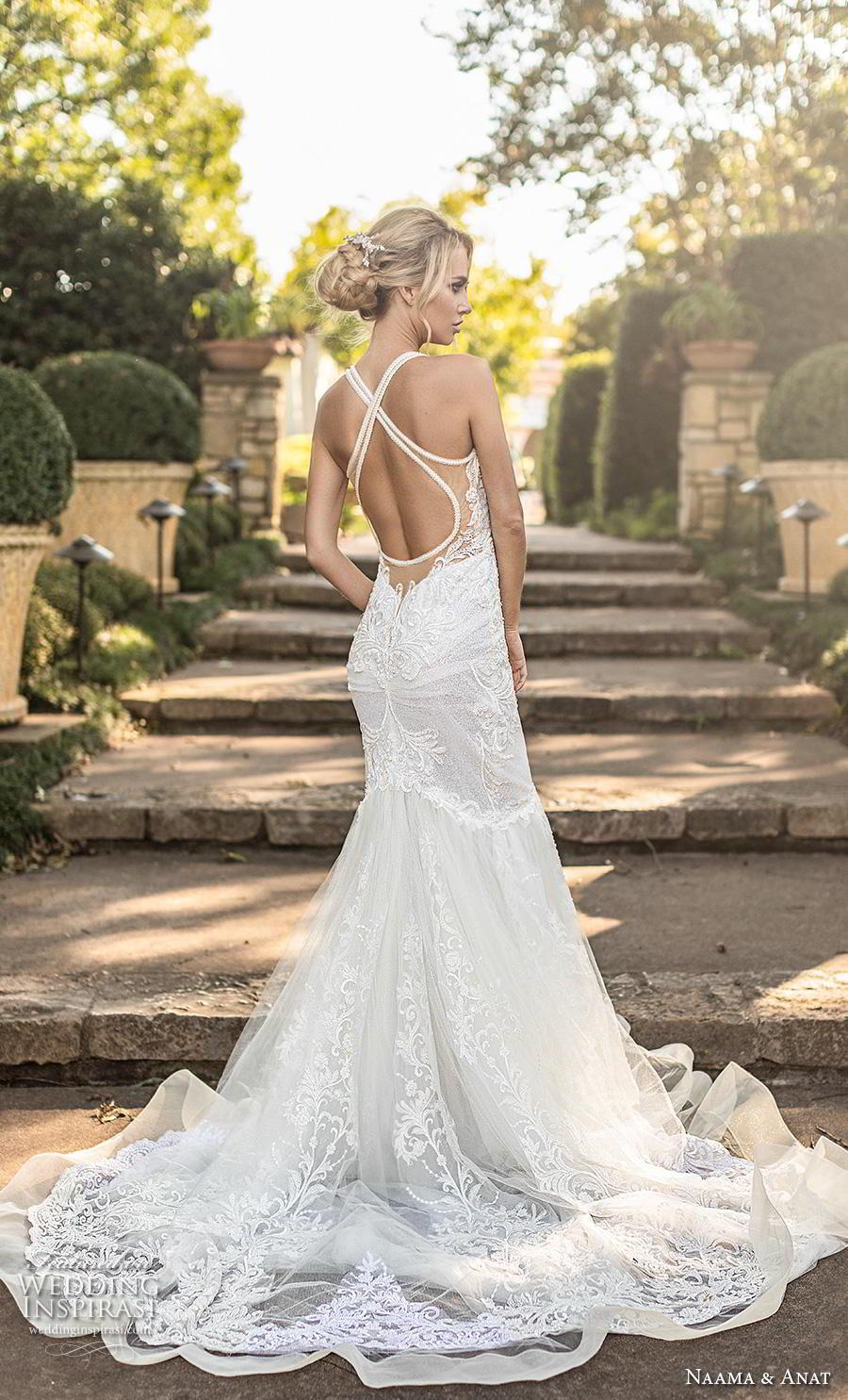 naama anat fall 2019 couture bridal sleeveless halter strap sweetheart neckline full embellishment elegant mermaid wedding dress cross strap back chapel train (5) bv